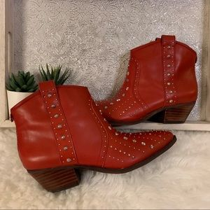 Sam Edelman Red Leather Studded Cowboy Booties